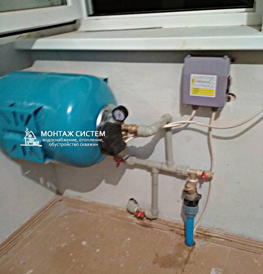 Установка оборудования в доме при подключении насоса через адаптер